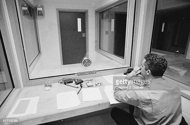 **EXCLUSIVE** A reporter sits and waits before an interview with prisoner Ted Kaczynski in a visiting room at the Federal ADX Supermax prison in...