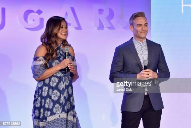 Reporter/associate producer Brandi Milloy and POPSUGAR reporter/producer Matthew Rodrigues speak on stage during the POPSUGAR 2017 Digital NewFront...