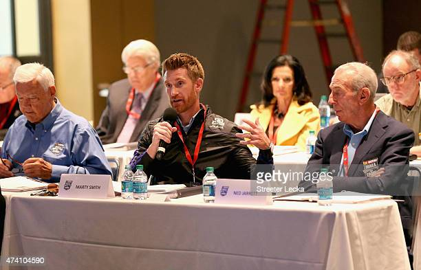 ReporterMarty Smith speaks to the voters during the NASCAR Hall Of Fame Class Of 2016 Annoucement at NASCAR Hall of Fame on May 20 2015 in Charlotte...