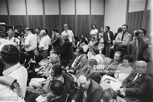 Reporters and general public attend a hearing regarding the murder of music teacher Gary Hinman by members of the Manson Family at the Santa Monica...