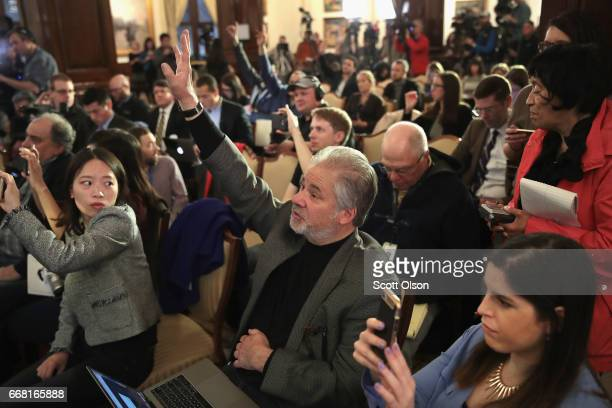 Reporters ask question during a press conference called by attorneys Thomas Demetrio and Stephen Golan and Crystal Dao Pepper the daughter of Dr...