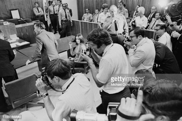 Reporters at a hearing regarding the murder of music teacher Gary Hinman by members of the Manson Family at the Santa Monica Courthouse, Los Angeles,...