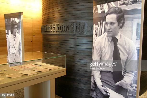 Reporters Bob Woodward and Carl Bernstein's Watergate papers are seen on display at the Harry Ransom Humanities Research Center at the University of...