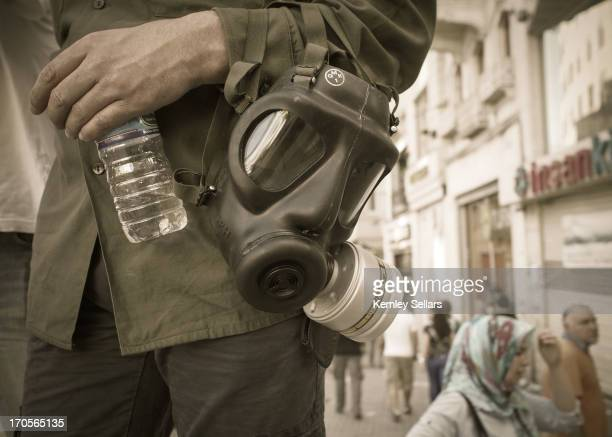 CONTENT] Reporters covering the second day of the protests in Istanbul come prepared following reports the previous day of widespread usage of tear...