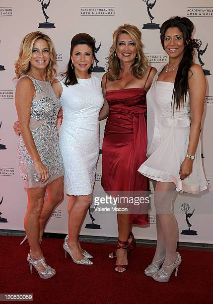 Reporters Dorothy Lucey Ana Garcia Wendy Burch and Christine Devine arrive at the Academy Of Television Arts Sciences 63rd Los Angeles Area Emmy...