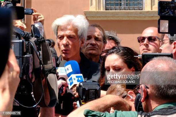 Reporters gather around Pietro Orlandi the brother or Emanuela Orlandi a teenager who disappeared in 1983 in one of Italy's darkest mysteries and the...