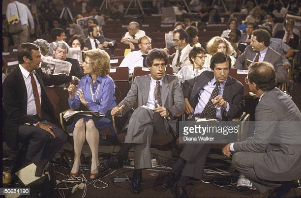 Reporters including ABC's Sam Donaldson CBS's Leslie Stahl and NBC's Chris Wallace gather for Press conference regarding Pres Ronald W Reagan's colon...