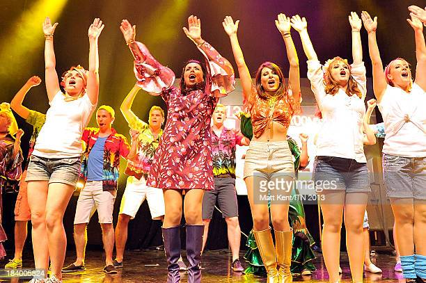 Reporters Nina Nannar and Lucrezia Millarini perform with other members of the ITV News Team at the annual Newsroom's Got Talent event to raise money...