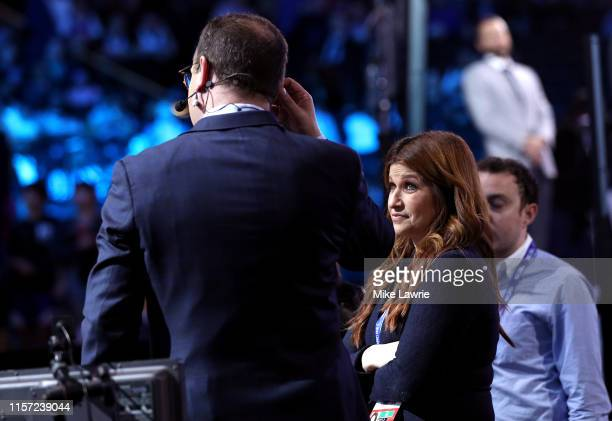 Reporters Rachel Nichols and Adrian Wojnarowski speak before the start of the 2019 NBA Draft at the Barclays Center on June 20 2019 in the Brooklyn...