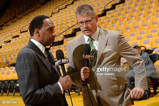 ESPN reporters Stephen A Smith and John Anderson discuss before the game between the Golden State Warriors and the Oklahoma City Thunder during Game...