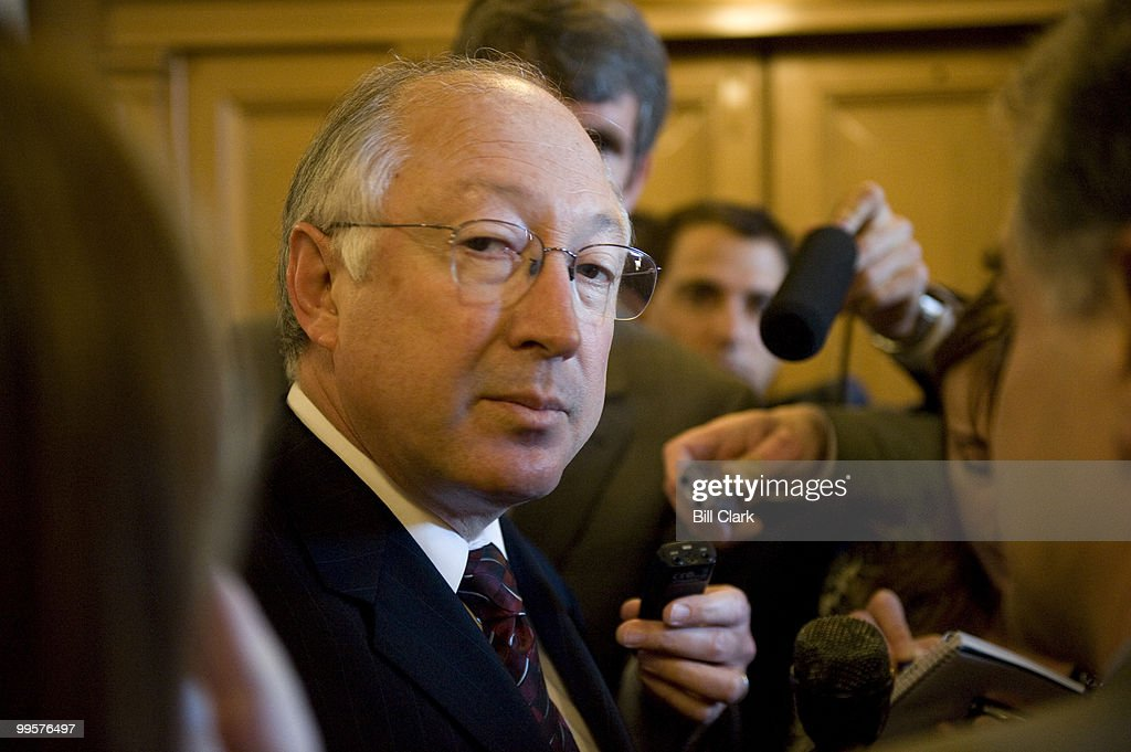 Reporters surround Sen. Ken Salazar, D-Colo., to ask him about the Obama Clinton race as he makes his way into the weekly Senate Domocratic Policy Luncheon on Wednesday, May 7, 2008., in the U.S. Capitol building.