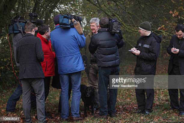 Reporters talk to a local man outside the house of the parents of Kate Middleton on November 16 2010 in Bucklebury England After much speculation...