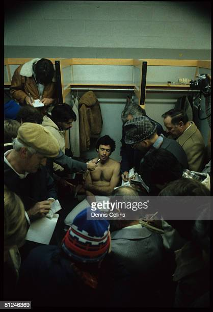 Reporters talk to Cleveland Browns quarterback Brian Sipe after a 2724 victory over the Cincinnati Bengals on December 21 at Riverfront Stadium in...