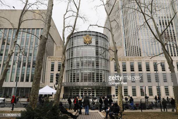 Reporters wait for Emma Coronel Aispuro wife of Joaquin 'El Chapo' Guzman to exit the US District Court for the Eastern District of New York February...