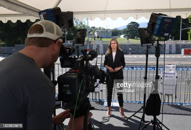 Reporting team from media broadcaster Eurovision stands outside Villa La Grange, venue of today's summit between U.S. President Joe Biden and Russian...