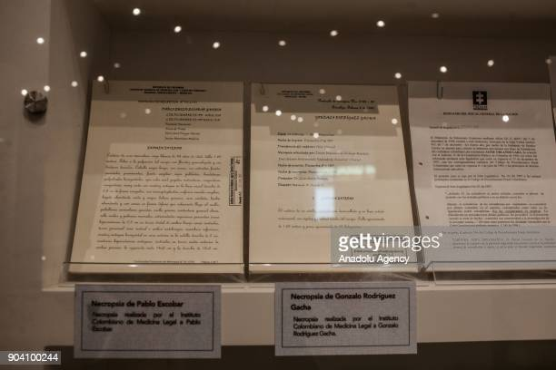 Reports of necropsies of Drug lords 'Pablo Emilio Escobar and Gonzalo Rodriguez Gacha The Mexican are seen at the exhibition of 'History of the...