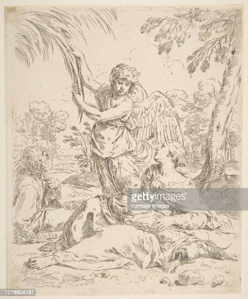 Repose in Egypt Mary nursing the infant Christ while an angel pulls at tree branches circa 1639 Artist Simone Cantarini