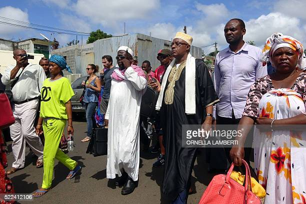 Representant of the Mayotte's Qadi Mohamed Nassur El-Mamouni takes part in a march on April 19, 2016 in Mamoutzou to denounce violence and insecurity...
