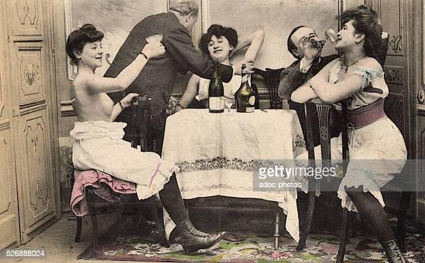 Representation of a scene in a brothel Ca 1900
