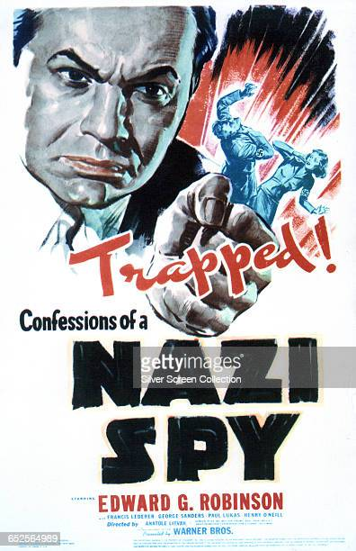 A representation of actor Edward G Robinson as FBI agent Edward Renard on a poster for the Warner Bros film 'Confessions of a Nazi Spy' directed by...