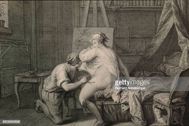 Representation of fable of the most famous French fabulist and poet Jean de La Fontaine by Nicolas de Lamessin