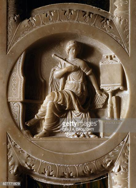 Representation of Music, decorative detail from the door of Isabella d'Este's apartment, Palazzo Ducale in Mantua, Lombardy, Italy, 16th century.