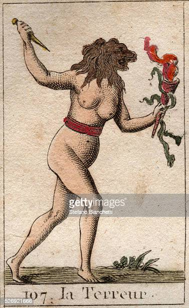 Representation of Terror as a woman with a lion head holding a knife and snakes From ' Mythologie de la jeunesse ' by Pierre Blanchard 1803