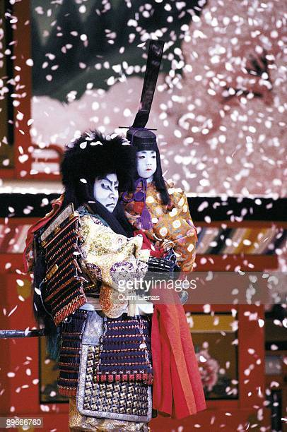 ´Yoshitsune and the a thousand almond trees´ Two actors of Kabuki of the company of Ichikawa Ennosuke on the stage
