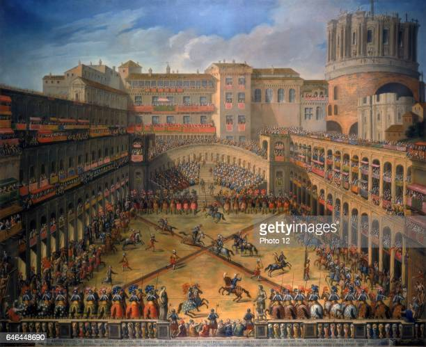Representation of the tournament in the Court of Belvedere in the Vatican to celebrate the marriage of Count Annibale Altemps and Hortensia Borromeo...
