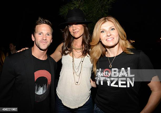 US representative Aaron Schock Katie Holmes and Connie Britton attend the 2014 Global Citizen Festival to end extreme poverty by 2030 at Central Park...