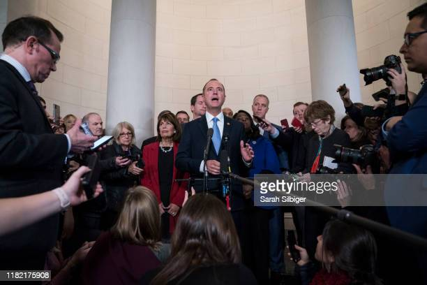 Representative Adam Schiff a Democrat from California and chairman of the House Intelligence Committee answers questions from members of the media...
