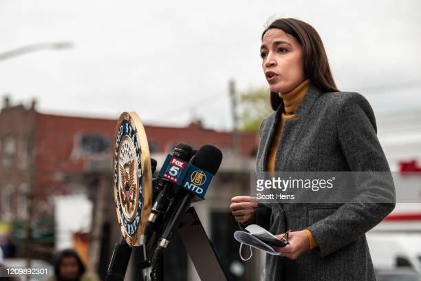 Representative Alexandria Ocasio Cortez speaks at a press conference at Corona Plaza in Queens on April 14 2020 in New York City OcasioCortez was...