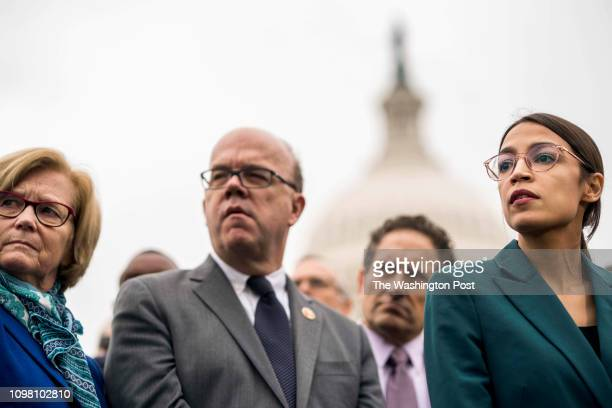 Representative Alexandria OcasioCortez at a press conference introducing a Green New Deal resolution for the 116th Congress on Capitol Hill in...