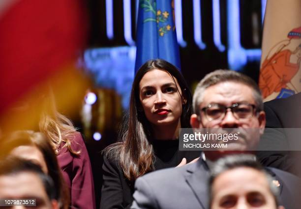 US Representative Alexandria OcasioCortez attends a swearingin ceremony and welcome reception for new Hispanic members of the US Congress in...
