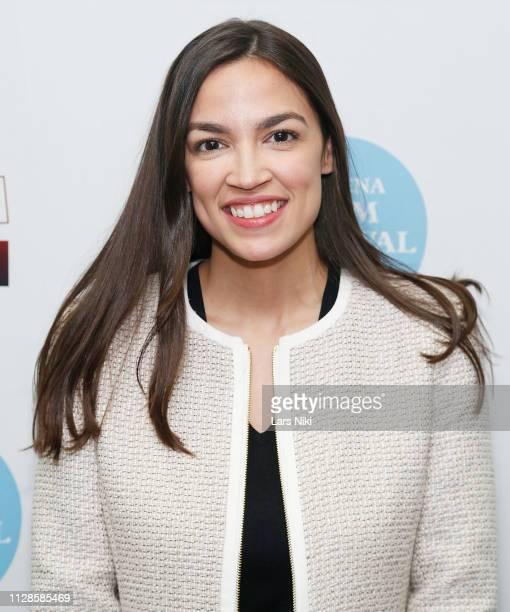 Representative Alexandria OcasioCortez attends the 2019 Athena Film Festival closing night film Knock Down the House at the Diana Center at Barnard...