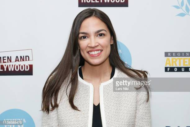 Representative Alexandria OcasioCortez attends the 2019 Athena Film Festival closing night film Knock Down the House at the Diana Center at Barnard...
