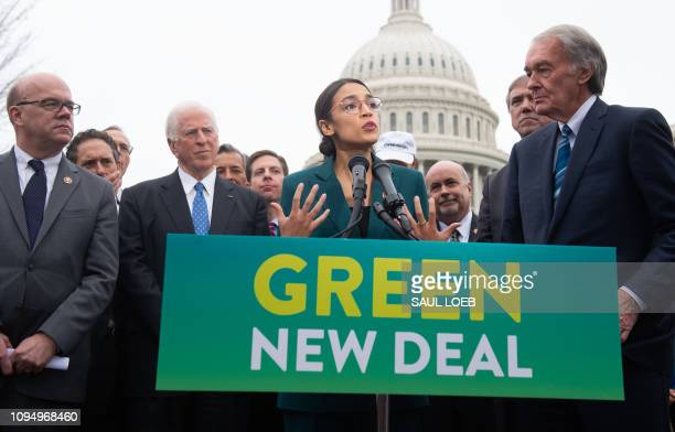US Representative Alexandria OcasioCortez Democrat of New York and US Senator Ed Markey Democrat of Massachusetts speak during a press conference to...