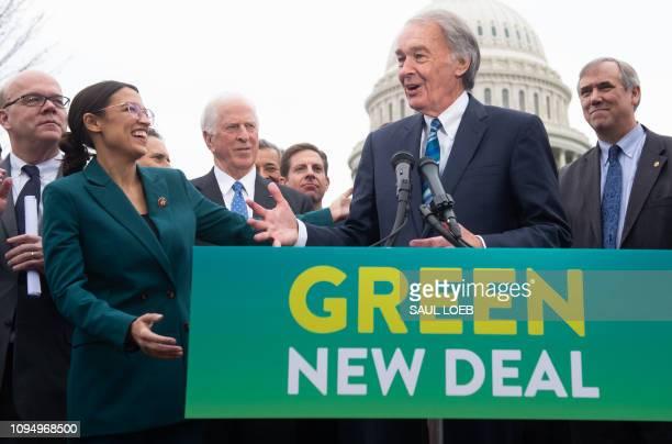 US Representative Alexandria OcasioCortez Democrat of New York and US Senator Ed Markey Democrat of Massachusetts speak during a press conference to...