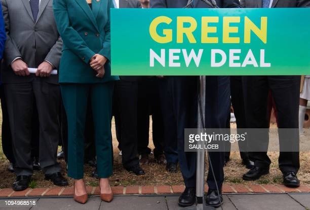 US Representative Alexandria OcasioCortez Democrat of New York holds a press conference with fellow members of Congress to announce Green New Deal...