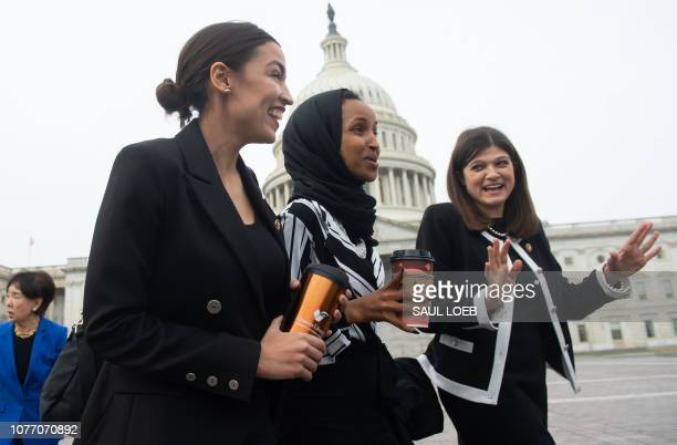 Representative Alexandria OcasioCortez Democrat of New York US Representative Ilhan Omar Democrat of Minnesota and US Representative Haley Stevens...