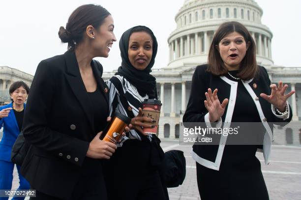 US Representative Alexandria OcasioCortez Democrat of New York US Representative Ilhan Omar Democrat of Minnesota and US Representative Haley Stevens...