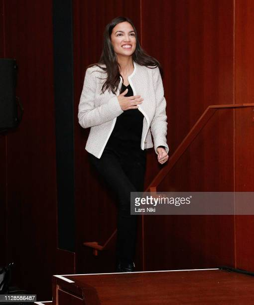 """Representative Alexandria Ocasio-Cortez on stage during the 2019 Athena Film Festival closing night film, """"Knock Down the House"""" at the Diana Center..."""
