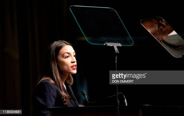 US Representative Alexandria OcasioCortez speaks during a gathering of the National Action Network April 5 2019 in New York