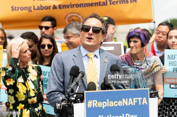 S Representative Andy Levin speaking at a rally against the proposed United StatesMexicoCanada Agreement the proposed successor to NAFTA at the...