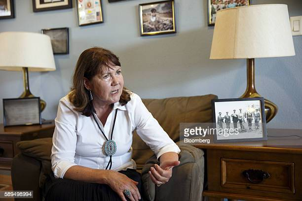 Representative Ann Kirkpatrick a Democrat from Arizona center speaks during an interview before the start of a campaign event on the Navajo Nation...