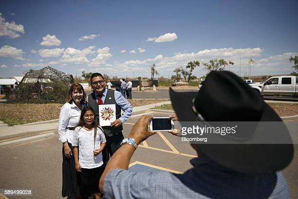 Representative Ann Kirkpatrick a Democrat from Arizona left stands for a photograph with attendees during a campaign event on the Navajo Nation...