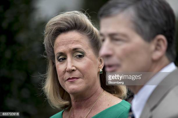 Representative Ann Wagner a Republican from Missouri left listens as Representative Jeb Hensarling a Republican from Texas and chairman of the House...