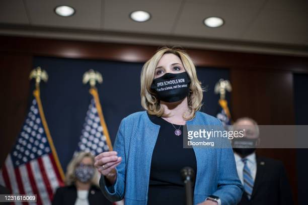 Representative Ashley Hinson, a Republican from Iowa, speaks during a news conference following a House Republicans meeting at the U.S. Capitol in...