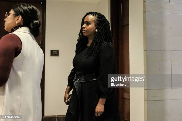 Representative Ayanna Pressley a Democrat from Massachusetts arrives to a closeddoor testimony before House committees with Gordon Sondland US...