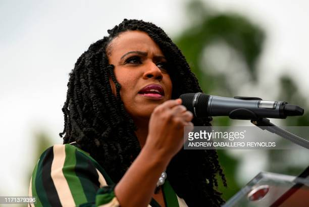 Representative Ayanna Pressley gestures as she speaks during the People's Rally for Impeachment on Capitol Hill in Washington DC on September 26 2019...